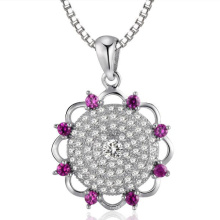 Big Flower Micro Setting 925 Sterling Silver Pendants Jewelry