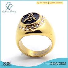 Masonic rings-Gold Plated oval shape mason logo ring