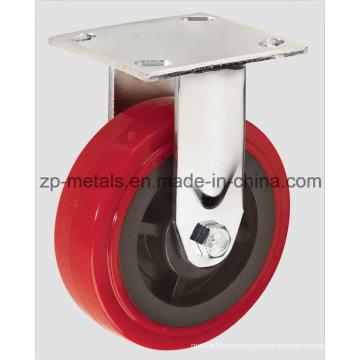 Rueda fija de 4 pulgadas para servicio pesado de PU rojo