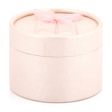 New style Eco-friendly material lid and base rigid paper round ring jewelry earring box pink gift box with ribbon