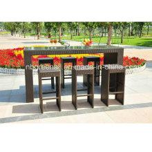 6 asientos muebles de mimbre al aire libre - conjunto de barra de ratán