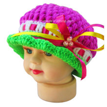 Hand Crochet Baby Girl Beaded Beanie Hat with Lace