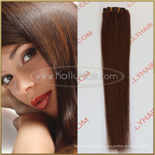 "20"" Straight Brazilian Clip In Hair Weft 100% Brazilian Human Hair Extension"
