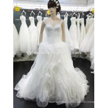 2016 New Fashion Real Foto Kleid Spagetti Strap Ballkleid Organza Kristall Spitze für gestickte Hochzeitskleider in Dubai 15024-1