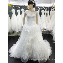 2016 New Fashion Real Photo Dress Spagetti Strap Ball Gown Organza Crystal Lace for Embroidered Wedding Dresses in Dubai 15024-1