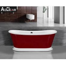 Aokeliya vintage red and white bath tub freestanding acrylic bathtub