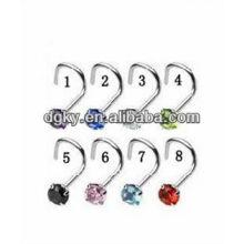 Coréia moda dobrado aço inoxidável nariz anéis jóias corpo
