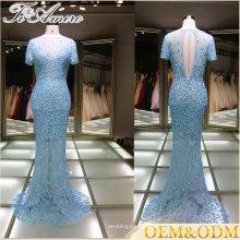 Vestido de noche China 2017 vestido de dama de honor vestido de noche de encaje azul