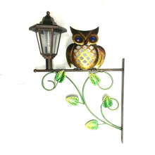 Practical Solar Lighted Metal Owl Garden Wall Decoration