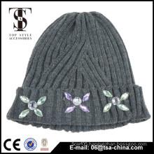 100% Acrylic High quality custom winter hat beanie,custom pom-pom beanie with jewelry