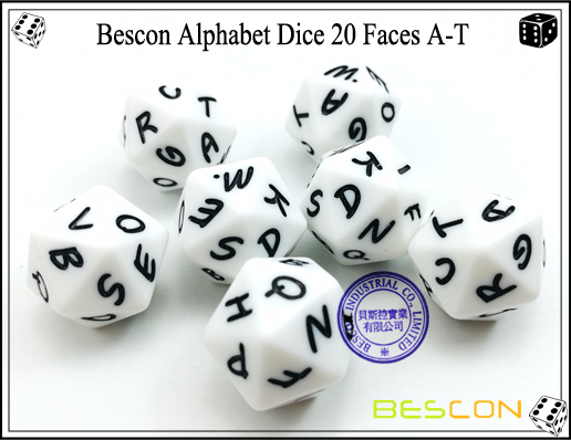 Bescon Alphabet Dice 20 Faces A-T-5