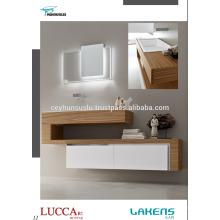 Vanité de salle de bain nouvelle génération avec châssis en chêne et tiroirs blancs laqués doux