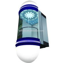 Ascenseur panoramique / visuel avec cabine circulaire, 1.0m / s, 1000kg, 1500kg