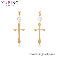 96936 Xuping 18K Gold Farbe Band Großhandel Kreuz Frauen Ohrringe