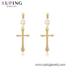 96936 xuping 18K gold color hoop wholesale cross women earrings