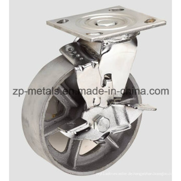 Heavy-Duty 4 Zoll mit Bremse Casting Iron Caster Wheel