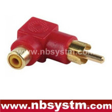 Rechter Winkel RCA Stecker zum RCA Klinkenadapter rot