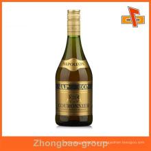 Cantão fornecedor de impressão por atacado e embalagem auto-adesivo personalizado etiqueta de ouro para garrafas de vinho