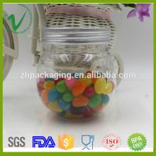 PET armazenamento vazio doce transparente 250 ml jarra de plástico redondo com tampa de alumínio