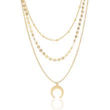 2018 Sommer vergoldet Multi Layer Chocker Mond Halskette für Frauen