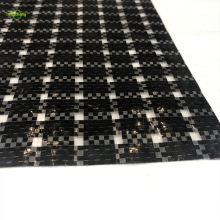 woven black grid clear film