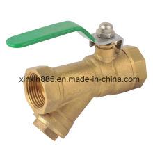 Válvula de bola de latón con filtro