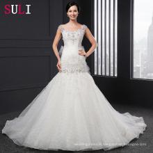 Q-005 Mermaid Appliques V-neck Cap Sleeve Bow Beading Wedding Dress