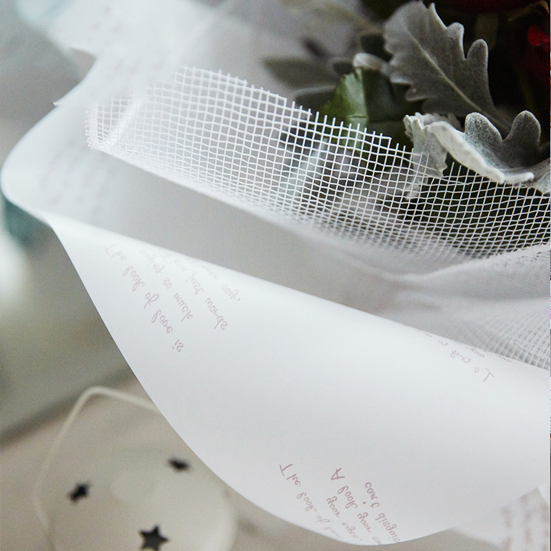 Chinese elegant flower wrapping paper with english words