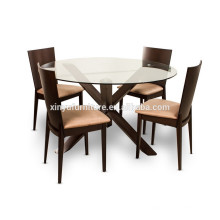 Durable glass top dining table and chair set XYN1505