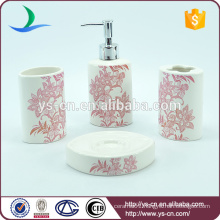 Promotional Red Flowers Ceramic Bath Spa Kit For Female