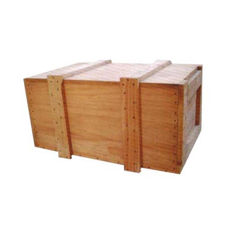 The steel belt assembled logistics wooden box