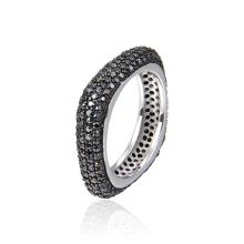 Fashionable classic 925 sterling silver zircon wedding ring eternal engagement cube shape flat unisex ring