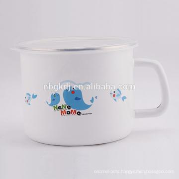 Enamel milk and tea mugs with lid SS edge