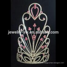El desfile de encargo de la flor del rhinestone de la joyería de moda corona para la venta