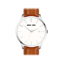 fashion brown leather quartz wrist watch