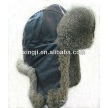 Sombrero de piel de conejo real con sombrero de invierno teñido de calidad superior de cuero