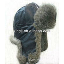 Real rabbit fur hat with leather top quality dyed fashion winter hat