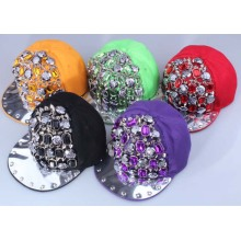 Caliente venta de moda roca diseño Strass cristal remache snapback tapa sombrero para unisex
