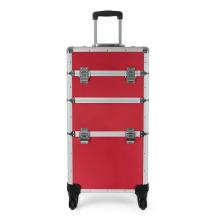Caisse de train de maquillage rouge vendable avec chariot (HX-A0742)