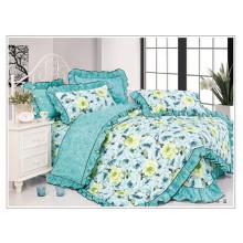 100 algodão princesa cama set capa de edredão com floral handmade patchwork bedskirt