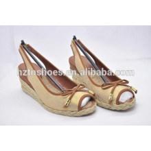2015 новая мода клинья сандалии белье неглубокие лук рот-палец ноги конопли обувь женская обувь