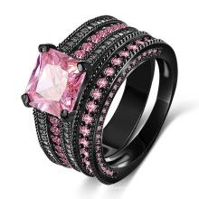 Pink CZ Diamond 18kt Black Gold Filled Ring