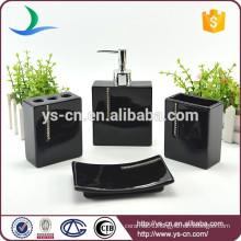 Black ceramic luxury bathroom accessories with diamond
