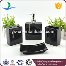 Acessórios de banheiro de cerâmica preta com diamante