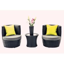 4 PCS Outdoor Black Rattan Stackable Patio Furniture