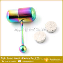 Stud Barbell Body Piercing Jewelry / Surgical Steel Vibrating Tongue Ring