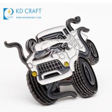 Factory direct sale no minimum order custom shaped metal zinc alloy soft enamel glitter car emblem badge