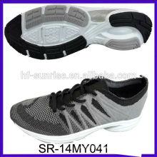 SR-14MY041 los zapatos hechos punto hacen punto los zapatos superiores de la manera los nuevos zapatos de los hombres del knit del diseño hacen punto los zapatos de los deportes de la tela