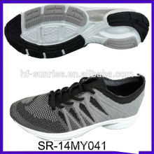 SR-14MY041 knitted shoes knit upper shoes fashion new design knit men running shoes knit fabric sports shoes