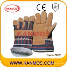Желтая свинья Сплит кожа Зимняя работа Промышленные защитные перчатки (21301)